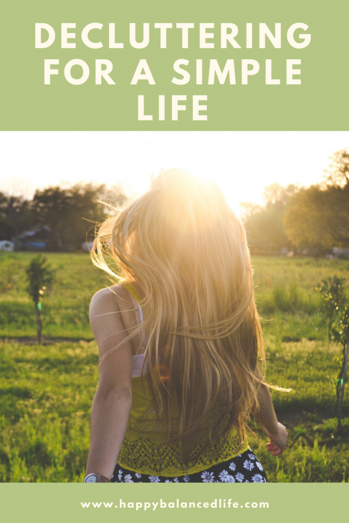 Decluttering for a simple life girl in field